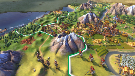 Early game units in Sid Meier's Civilization VI near mountains.