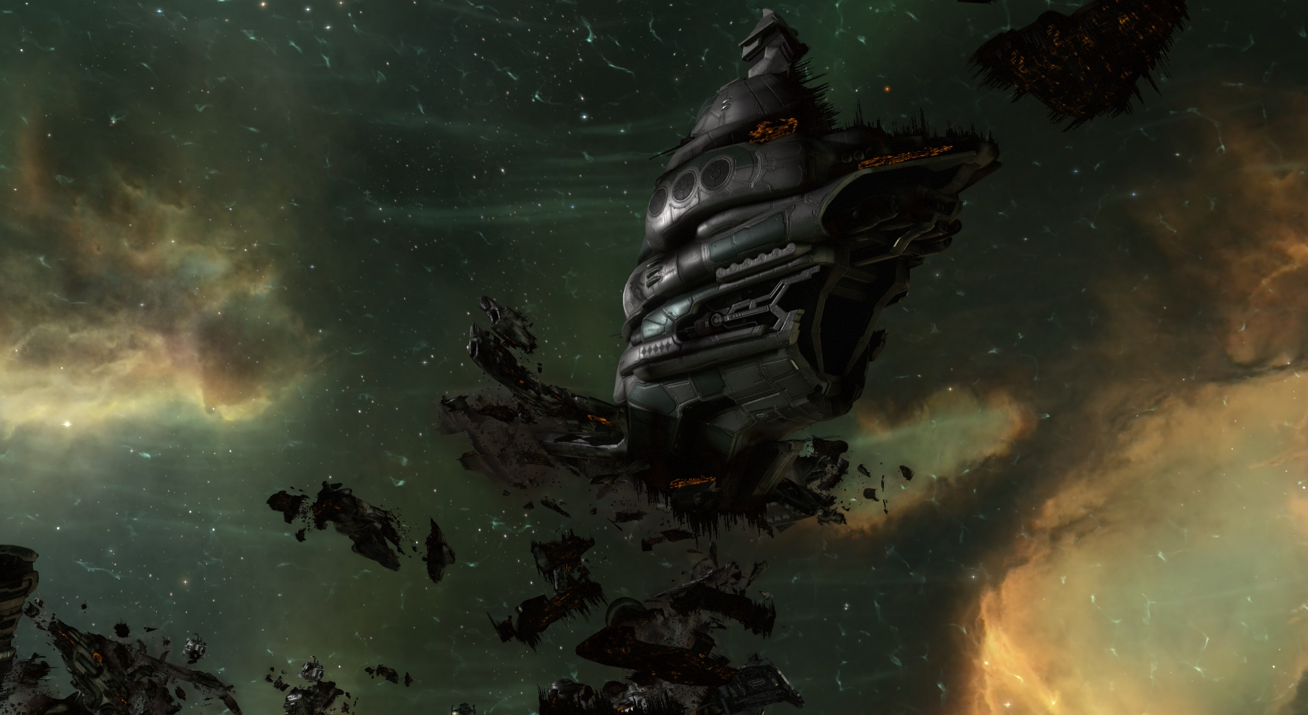 A destroyed Gallente battleship in EVE Online's new player experience