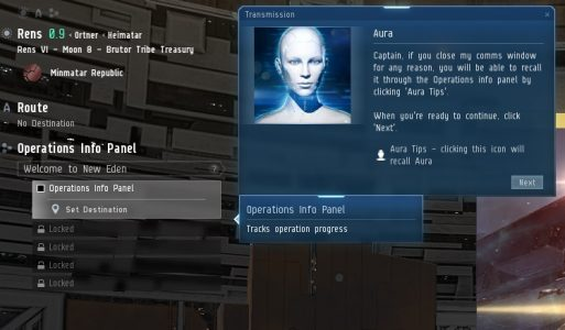 Aura introduces a new player to EVE Online through Operations Info