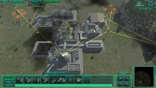 Third person RTS view during a single player match of Executive Assault