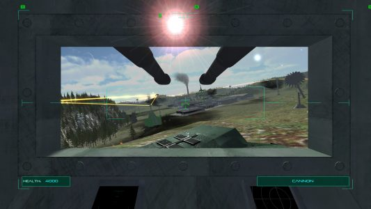 First person view from the pilot's seat of a tank in Executive Assault