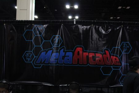 banner at the MetaArcade booth at PAX South in San Antonio, Texas