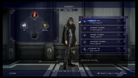 The Elemancy screen in Final Fantasy XV.