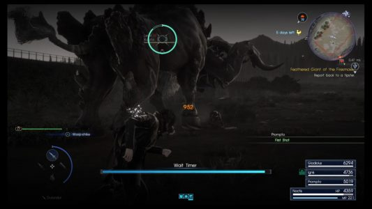 An example of Wait Mode in Final Fantaxy XV.