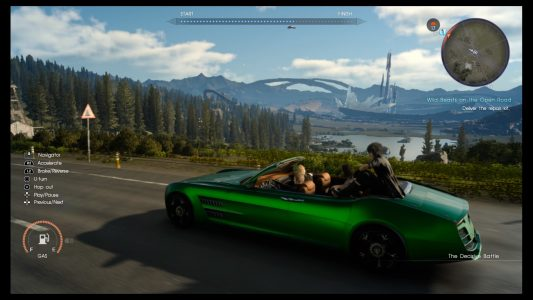 A view of the wide open world of Eos from the confines of the Regalia in Final Fantasy XV.