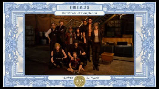 Certificate of completion presented to the player after beating Final Fantasy XV.