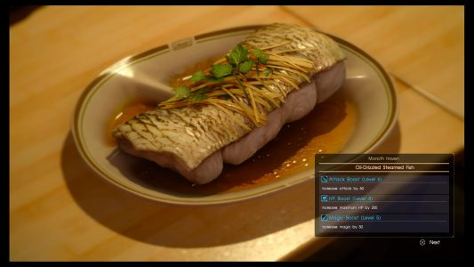 This is a plate of food from Final Fantasy XV.