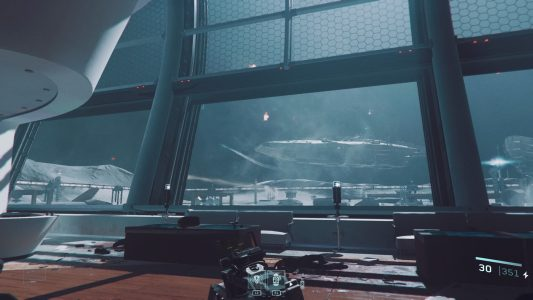 Looking out on the surface of the moon in a main mission of Call of Duty: Infinite Warfare