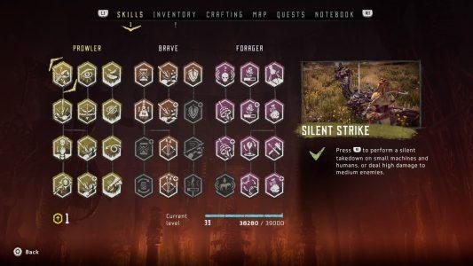 Horizon Zero Dawn's skill tree