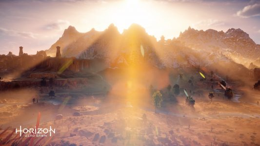 A beautiful sunburst photo in Horizon Zero Dawn