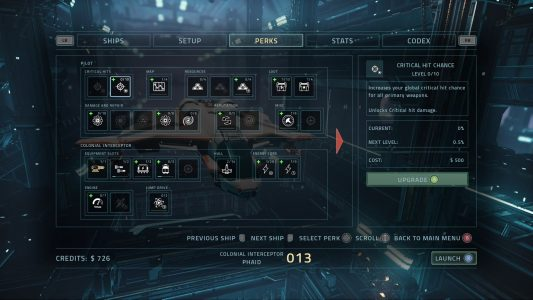 The perk selection screen in Everspace.