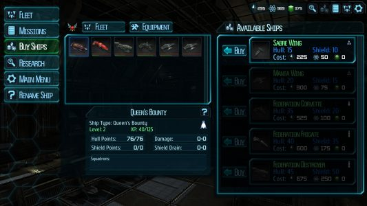 The ship purchase screen in Ancient Frontier