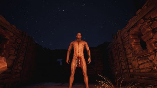 Standing next to a fire in Conan Exiles