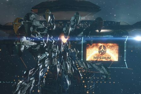 The tribute fleet on an NPC station undock in ROIR, with the Imperium log displayed on a virtual billboard.