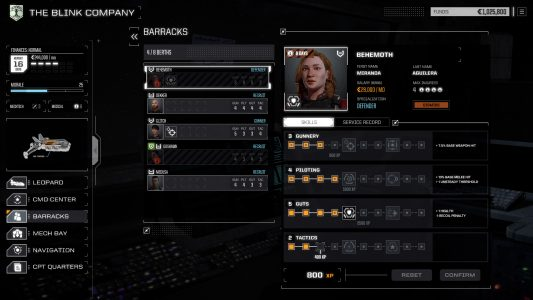 BattleTech allows mechwarrior customization through skill training.