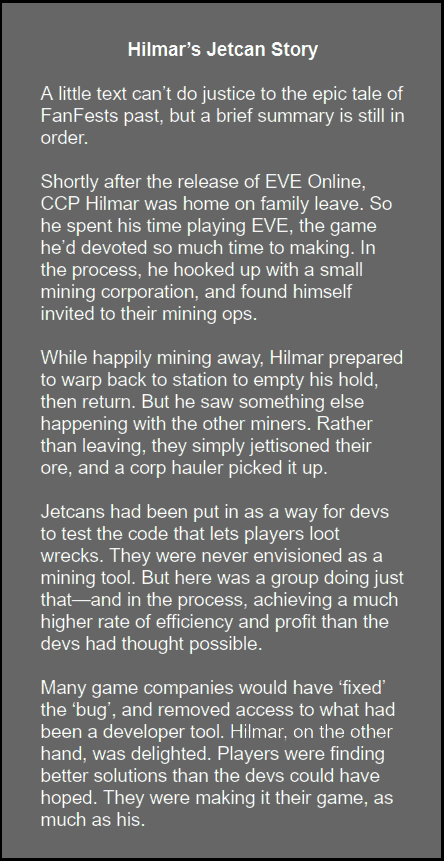 PvP Lifestyle - Hilmar's jetcan story illustrates how CCP can use player-driven solutions.